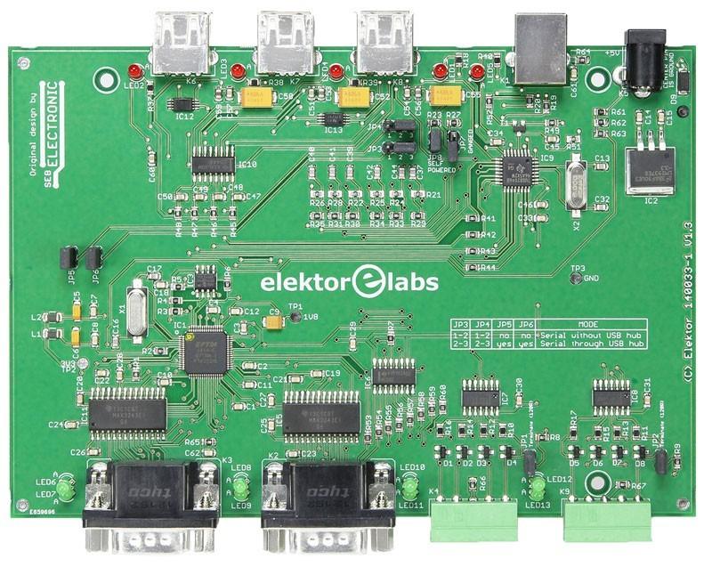 USB-hub/UART-converter met RS-232 en RS-422/RS-485