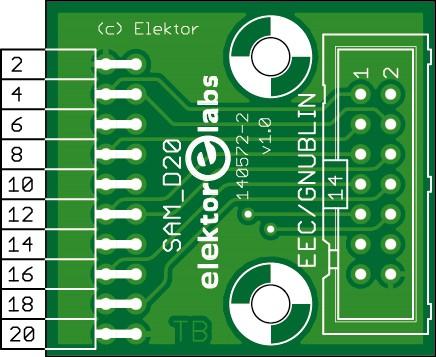 SAM D20 to ECC-GNUBLIN Adapter (140572-2)