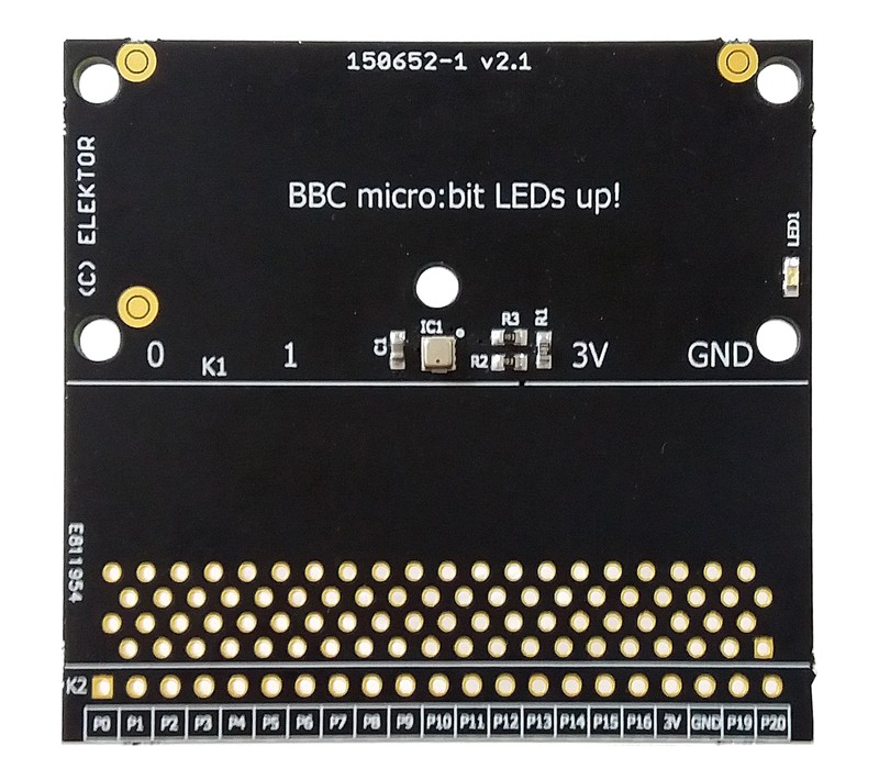 BBC micro:bit weather station - PCB with SMDs mounted (150652-71)