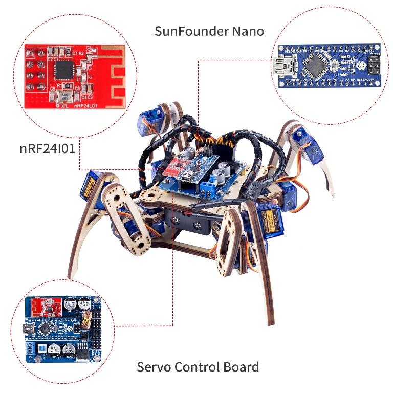 SunFounder Remote Control Crawling Quadruped Robot V2.0