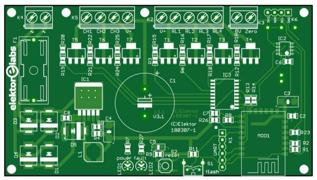 Pinball clock - bare PCB (180307-1)