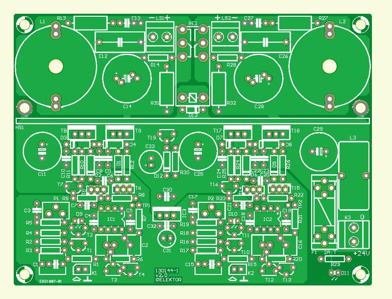 555-audioversterker (onbestukte printplaat)