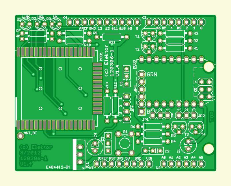 WiFi/Bluetooth/USB-shield voor Platino en Arduino