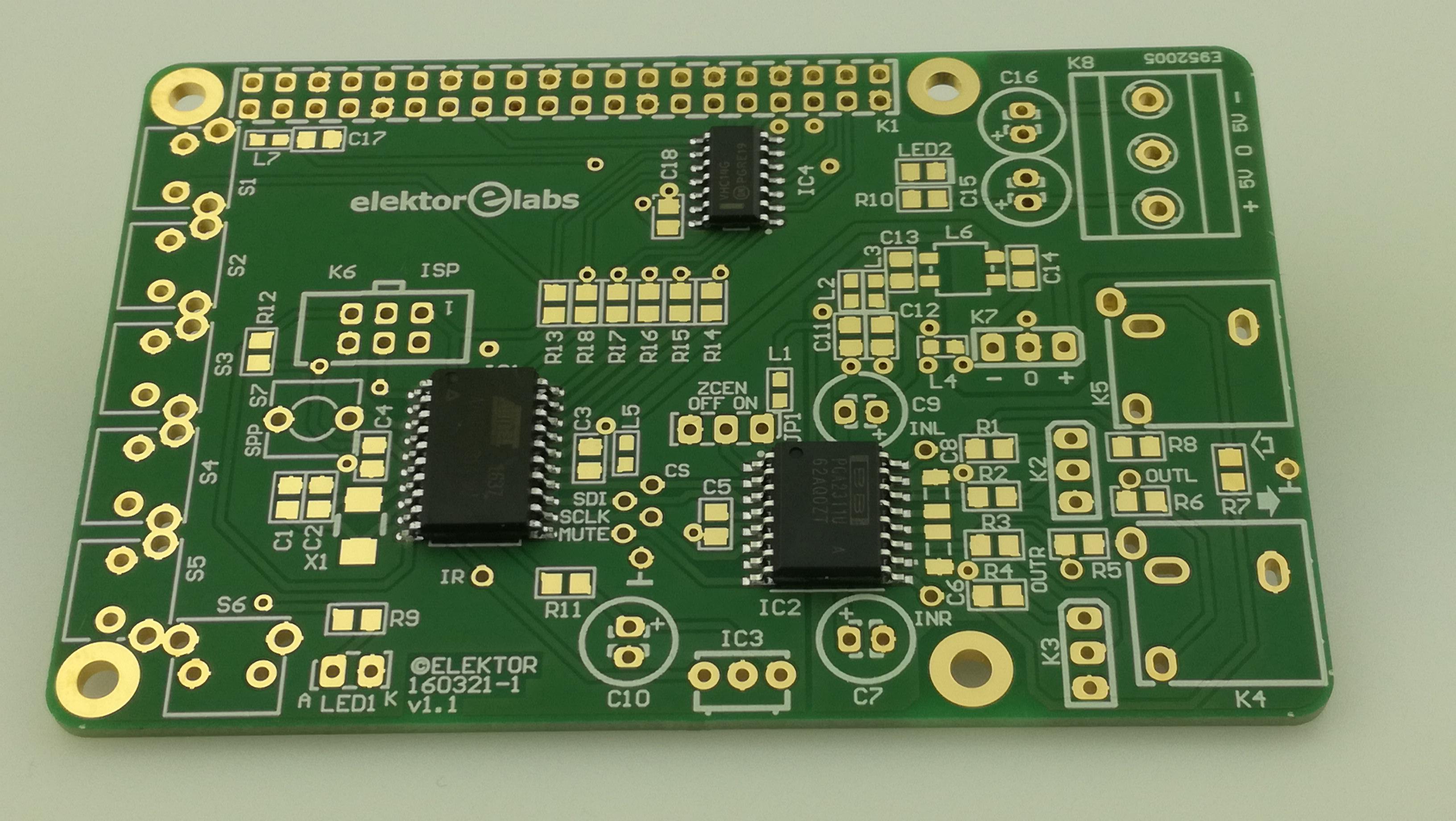 Volumeregeling voor RPI audio-DAC - PCB met IC1,2,4 gemonteerd (160321-1)