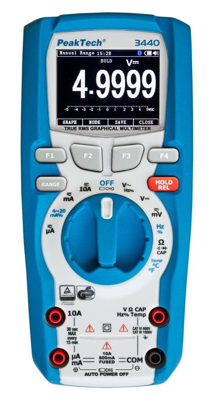 PeakTech 3440 True RMS Graphical Multimeter with Bluetooth & Datalogger (50000 Counts)