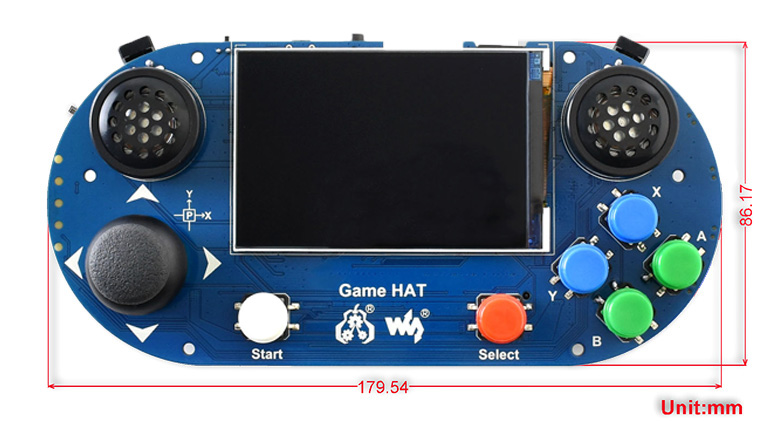 Game HAT for Raspberry  Pi - Dimensions